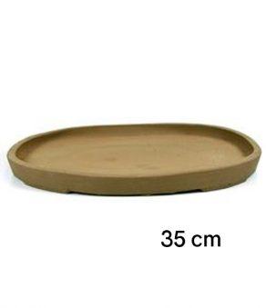 Plato oval de gres para bonsai de 35 cm