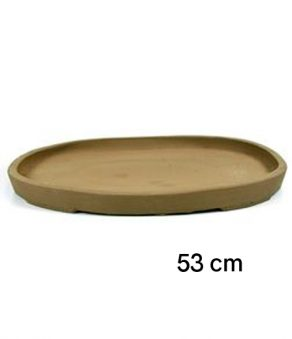 Plato oval de gres para bonsai de 53