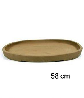 Plato oval de gres para bonsai de 58 cm